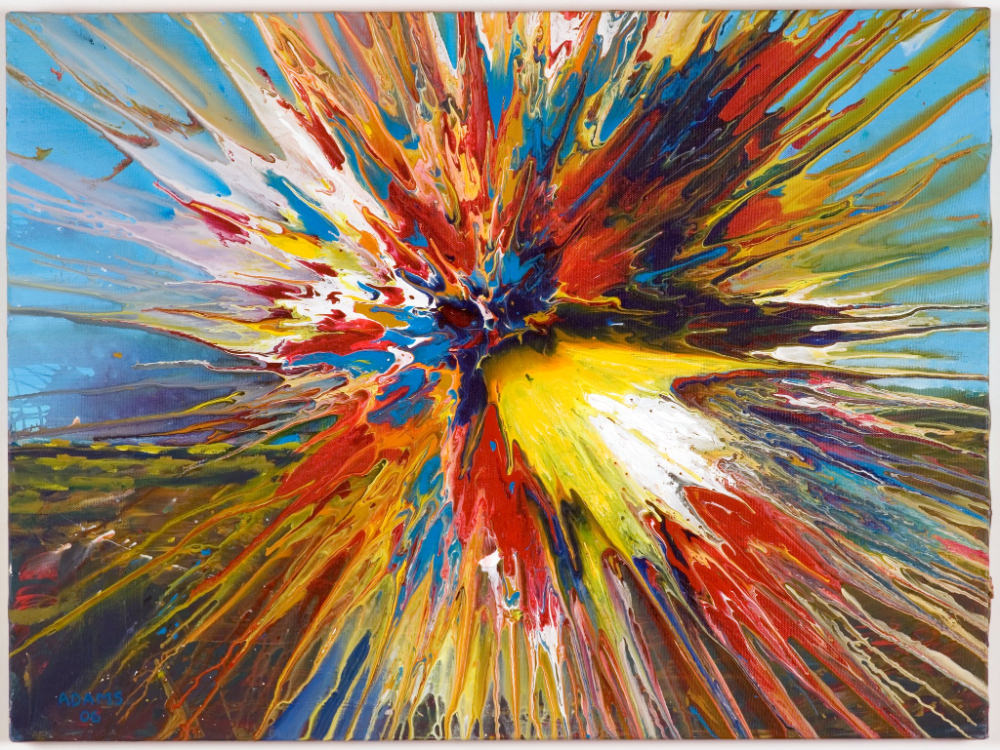 Global Spin By John Adams 2006 Acrylic On Canvas 70x40cm Sold